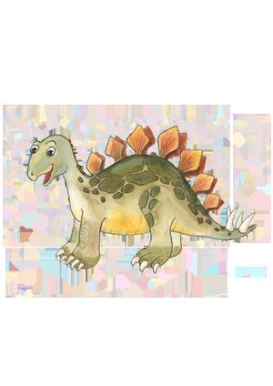 portrét postavičky Stegosaurka Lampi