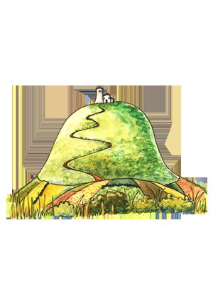 portrét postavičky Hora Říp s rotundou